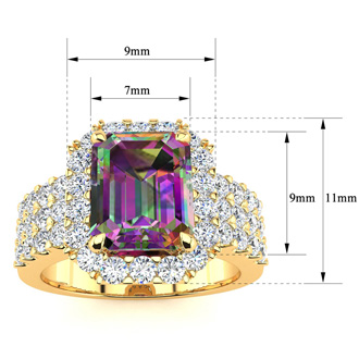 3 Carat Mystic Topaz and Halo Diamond Ring In 14 Karat Yellow Gold