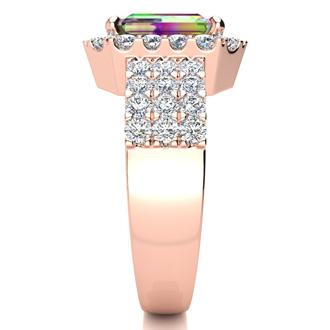 3 Carat Mystic Topaz and Halo Diamond Ring In 14 Karat Rose Gold