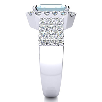 3 Carat Aquamarine and Halo Diamond Ring In 14 Karat White Gold