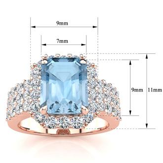 3 Carat Aquamarine and Halo Diamond Ring In 14 Karat Rose Gold