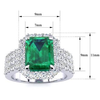 3 Carat Emerald Shape Emerald and Halo Diamond Ring In 14 Karat White Gold