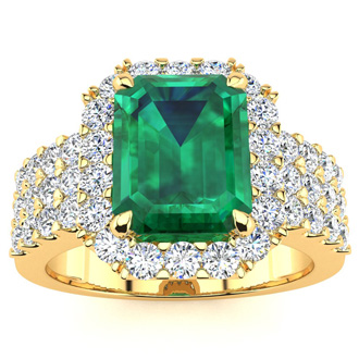 3 Carat Emerald and Halo Diamond Ring In 14 Karat Yellow Gold