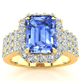 3 1/2 Carat Tanzanite and Halo Diamond Ring In 14 Karat Yellow Gold