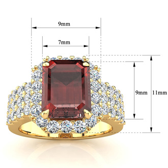3 3/4 Carat Garnet and Halo Diamond Ring In 14 Karat Yellow Gold