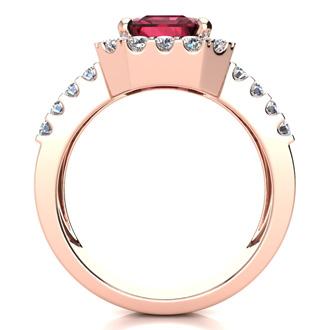 3 3/4 Carat Garnet and Halo Diamond Ring In 14 Karat Rose Gold