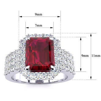 3 3/4 Carat Ruby and Halo Diamond Ring In 14 Karat White Gold