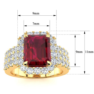 3 3/4 Carat Ruby and Halo Diamond Ring In 14 Karat Yellow Gold
