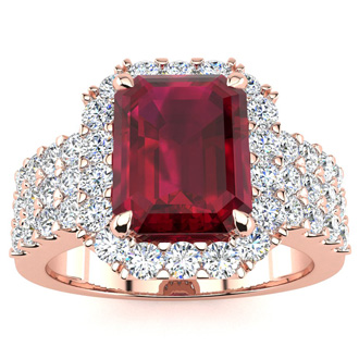 3 3/4 Carat Ruby and Halo Diamond Ring In 14 Karat Rose Gold
