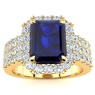 3 3/4 Carat Sapphire and Halo Diamond Ring In 14 Karat Yellow Gold