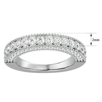 1 Carat Diamond Wedding Band In 14 Karat White Gold