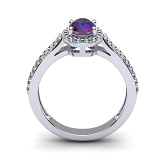 1 Carat Oval Shape Amethyst and Halo Diamond Ring In 14 Karat White Gold