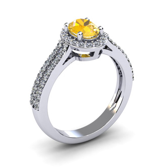 1 Carat Oval Shape Citrine and Halo Diamond Ring In 14 Karat White Gold