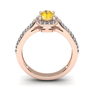 1 Carat Oval Shape Citrine and Halo Diamond Ring In 14 Karat Rose Gold