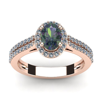 1 1/2 Carat Oval Shape Mystic Topaz and Halo Diamond Ring In 14 Karat Rose Gold
