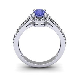1 1/3 Carat Oval Shape Tanzanite and Halo Diamond Ring In 14 Karat White Gold