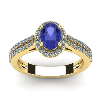 1 1/3 Carat Oval Shape Tanzanite and Halo Diamond Ring In 14 Karat Yellow Gold