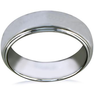 7mm Tungsten Wedding Band with Raised Shiny Center