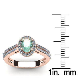 1 Carat Oval Shape Green Amethyst and Halo Diamond Ring In 14 Karat Rose Gold