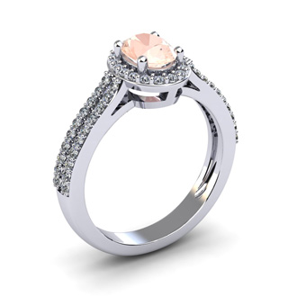 1 1/4 Carat Oval Shape Morganite and Halo Diamond Ring In 14 Karat White Gold