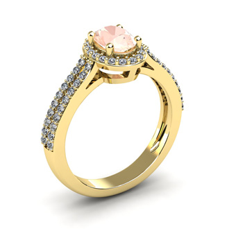 1 1/4 Carat Oval Shape Morganite and Halo Diamond Ring In 14 Karat Yellow Gold