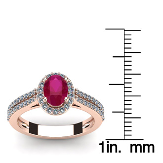 1 1/3 Carat Oval Shape Ruby and Halo Diamond Ring In 14 Karat Rose Gold