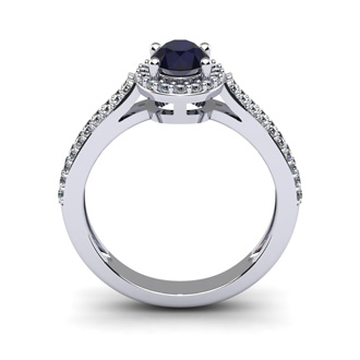 1 1/2 Carat Oval Shape Sapphire and Halo Diamond Ring In 14 Karat White Gold