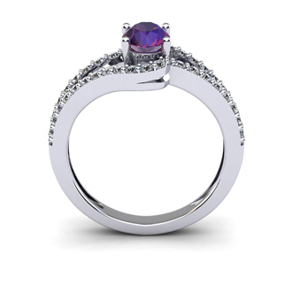1 Carat Oval Shape Amethyst and Fancy Diamond Ring In 14 Karat White Gold