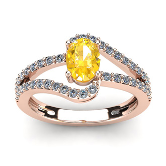1 Carat Oval Shape Citrine and Fancy Diamond Ring In 14 Karat Rose Gold