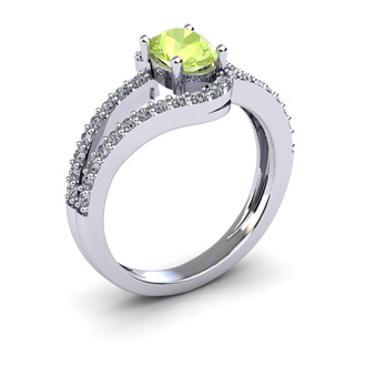 1 1/3 Carat Oval Shape Peridot and Fancy Diamond Ring In 14 Karat White Gold