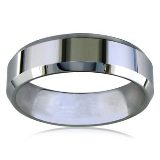 7mm Beveled Tungsten Men's Wedding Band