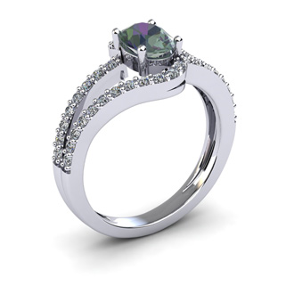1 1/2 Carat Oval Shape Mystic Topaz and Fancy Diamond Ring In 14 Karat White Gold