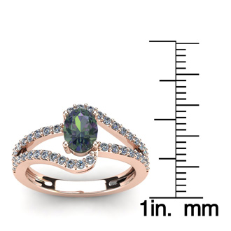 1 1/2 Carat Oval Shape Mystic Topaz and Fancy Diamond Ring In 14 Karat Rose Gold