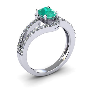 1 1/4 Carat Oval Shape Emerald and Fancy Diamond Ring In 14 Karat White Gold