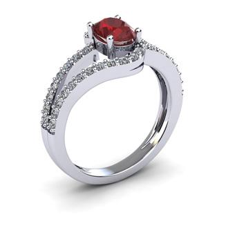1 1/2 Carat Oval Shape Garnet and Fancy Diamond Ring In 14 Karat White Gold