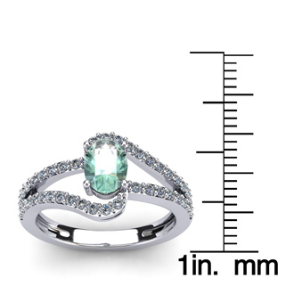 1 Carat Oval Shape Green Amethyst and Fancy Diamond Ring In 14 Karat White Gold