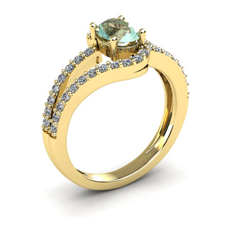 1 Carat Oval Shape Green Amethyst and Fancy Diamond Ring In 14 Karat Yellow Gold