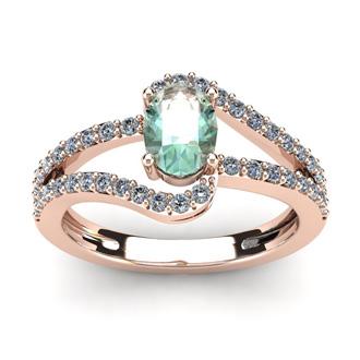 1 Carat Oval Shape Green Amethyst and Fancy Diamond Ring In 14 Karat Rose Gold