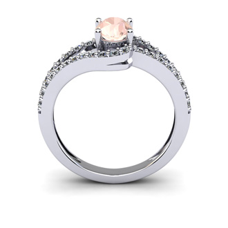 1 1/4 Carat Oval Shape Morganite and Fancy Diamond Ring In 14 Karat White Gold