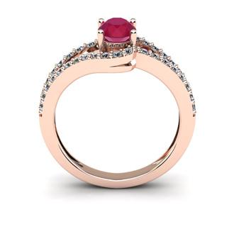 1 1/3 Carat Oval Shape Ruby and Fancy Diamond Ring In 14 Karat Rose Gold