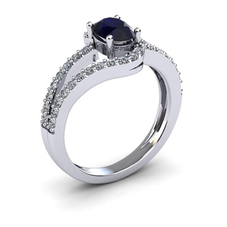1 1/2 Carat Oval Shape Sapphire and Fancy Diamond Ring In 14 Karat White Gold