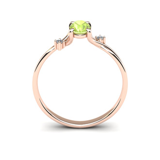 1/2 Carat Oval Shape Peridot and Two Diamond Accent Ring In 14 Karat Rose Gold