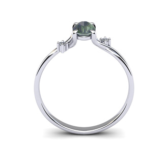 1/2 Carat Oval Shape Mystic Topaz and Two Diamond Accent Ring In 14 Karat White Gold