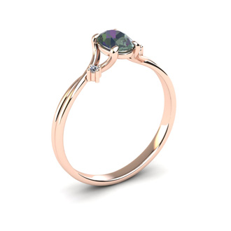1/2 Carat Oval Shape Mystic Topaz and Two Diamond Accent Ring In 14 Karat Rose Gold