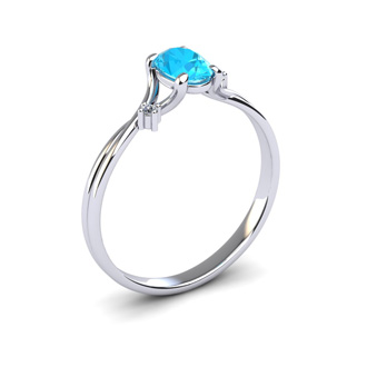 1/2 Carat Oval Shape Aquamarine and Two Diamond Accent Ring In 14 Karat White Gold
