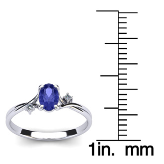 1/2 Carat Oval Shape Tanzanite and Two Diamond Accent Ring In 14 Karat White Gold