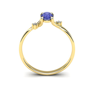 1/2 Carat Oval Shape Tanzanite and Two Diamond Accent Ring In 14 Karat Yellow Gold