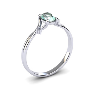 1/2 Carat Oval Shape Green Amethyst and Two Diamond Accent Ring In 14 Karat White Gold