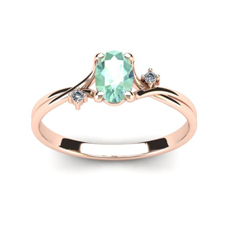 1/2 Carat Oval Shape Green Amethyst and Two Diamond Accent Ring In 14 Karat Rose Gold