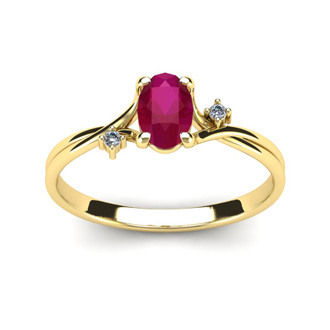 1/2 Carat Oval Shape Ruby and Two Diamond Accent Ring In 14 Karat Yellow Gold
