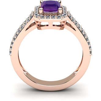 1 1/3 Carat Amethyst and Halo Diamond Ring In 14 Karat Rose Gold